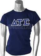 Delta Tau Sigma Greek Letter Screen Printed T-Shirt, Navy Blue