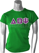 Delta Theta Psi Greek Letter Screen Printed T-Shirt, Kelly Green