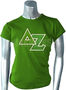 Delta Zeta Screen Printed T-Shirt with Greek Letters, Green