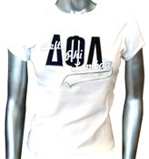 D-Phi-L Sorority, Inc. Fitted Screen Printed T-Shirt, White