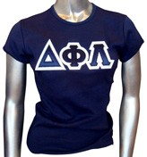 Triple-Layered D-Phi-L Letters Fitted Screen Printed T-Shirt, Navy