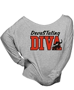 DevaSTating DIVA Embroidered Long Sleeve Off-Shoulder Shirt, Gray