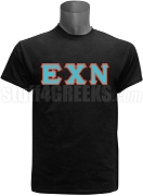 Epsilon Chi Nu Greek Letter Screen Printed T-Shirt, Black