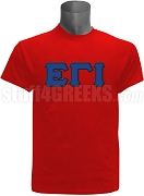 Epsilon Gamma Iota Greek Letter Screen Printed T-Shirt, Red