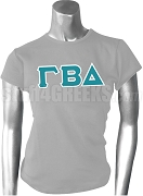 Gamma Beta Delta Ladies Greek Letter Screen Printed T-Shirt, Gray