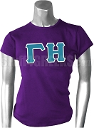 Gamma Eta Greek Letter Screen Printed T-Shirt, Purple