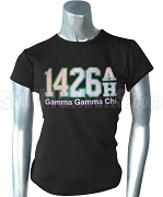Gamma Gamma Chi Screen Printed T-Shirt with 1426 AH Above Organization Name, Black