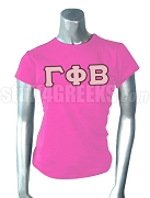 Gamma Phi Beta Screen Printed T-Shirt with Greek Letters, Hot Pink