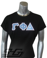 Gamma Phi Delta Triple-Layered Letters Fitted Shirt, Black