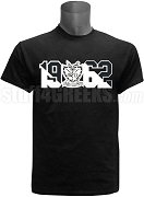Groove Phi Groove Screen Printed T-Shirt with Crest and Founding Year, Black