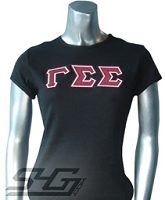 Gamma Sigma Sigma Triple-Layered Letters Fitted Shirt, Black