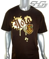 Iota Paint Splatter Screen Printed Tee, Brown