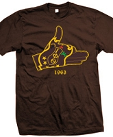 Iota Hand Crest, Brown Screen Printed T-Shirt