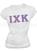 Iota Chi Kappa Greek Letter Screen Printed T-Shirt, White