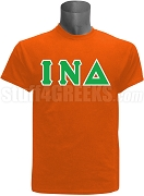 Iota Nu Delta Greek Letter Screen Printed T-Shirt, Orange