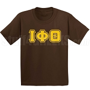 Iota Phi Theta Triple-Layered Letters Screen Printed T-Shirt, Brown