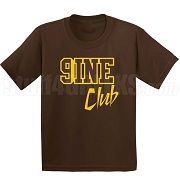 9/Nine Club Screen Printed T-Shirt, Brown/Gold