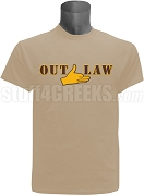 Iota Phi Theta Screen Printed T-Shirt with Outlaw Hand Sign, Beige