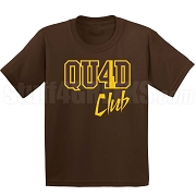 4/Quad Club Screen Printed T-Shirt, Brown/Gold