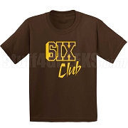 6/Six Club Screen Printed T-Shirt, Brown/Gold