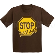Stop Skating! Screen Printed T-Shirt, Brown/Gold