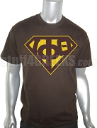 Iota Phi Theta Screen Printed T-Shirt with Greek Letters inside Superman Shield, Brown