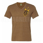 Iota Shield V-Neck Screen Printed T-Shirt, Brown