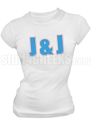 Jack & Jill Ladies Organization Letter Screen Printed T-Shirt, White