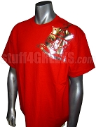 Kappa Alpha Psi Metallic Foil Crest DTG Printed T-Shirt, Red Shirt with Silver Crest