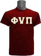 Kappa Alpha Psi Screen Printed T-Shirt with Phi Nu Pi Letters, Crimson