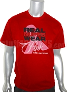 Kappa Alpha Psi Pink Ribbon Breast Cancer Awareness Screen Printed T-Shirt, Red