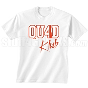 4/Quad Klub Screen Printed T-Shirt, White/Red