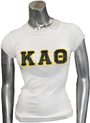 Kappa Alpha Theta Screen Printed T-Shirt with Greek Letters, White