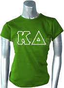 Kappa Delta Screen Printed T-Shirt with Greek Letters, Kelly Green
