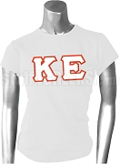 Kappa Epsilon Greek Letter Screen Printed T-Shirt, White