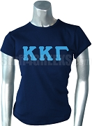 Kappa Kappa Gamma Screen Printed T-Shirt with Greek Letters, Navy Blue