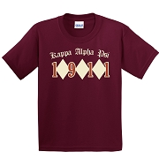 KappaNupeGear - Kappa Alpha Psi Triple Diamond and Founding Year T-Shirt, Crimson - Screen Printed