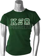 Kappa Xi Omega Greek Letter Screen Printed T-Shirt, Forest Green