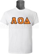 Lambda Omicron Delta Greek Letter Screen Printed T-Shirt, White
