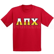 Lambda Pi Chi Half Letters Screen Printed T-Shirt, Red