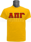 Lambda Pi Gamma Greek Letter Screen Printed T-Shirt, Gold