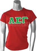 Lambda Sigma Gamma Greek Letter Screen Printed T-Shirt, Red