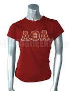 Lambda Theta Alpha Screen Printed T-Shirt with Greek Letters, Crimson