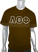 Lambda Theta Phi Greek Letter Screen Printed T-Shirt, Brown