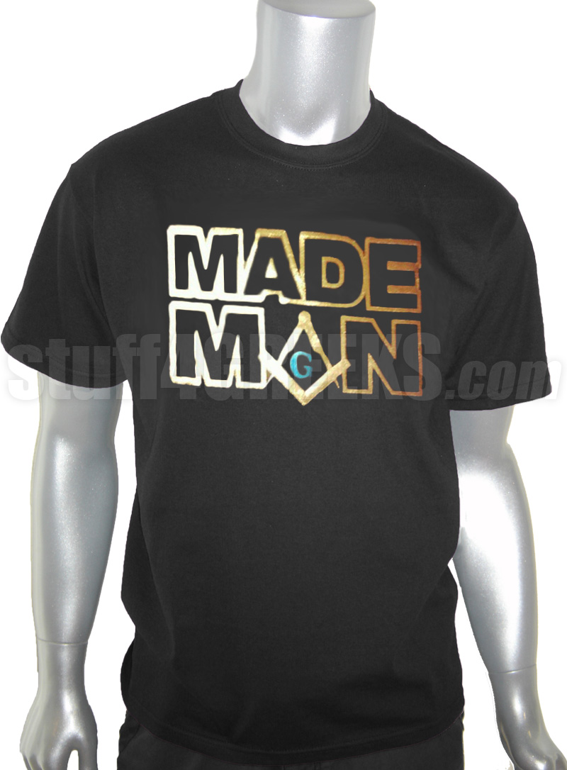 Mason Made Man Foil T Shirt Black Shirt With Blue And Gold Foil