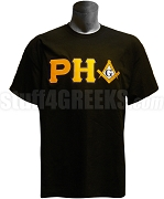 Prince Hall Mason Screen Printed T-Shirt with Square and Compass, Black