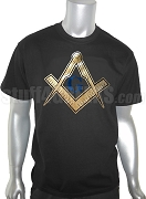 Mason Square and Compasses Foil T-Shirt, Black Shirt with Blue and Gold Foil