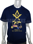 Mason Father of All Screen Printed T-Shirt - Without us there would be no you - Navy Blue/Old Gold