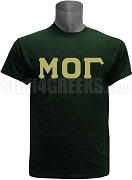 Mu Omicron Gamma Greek Letter Screen Printed T-Shirt, Forest Green