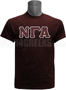 Nu Gamma Alpha Greek Letter Screen Printed T-Shirt, Maroon